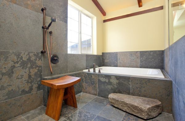Exceptionnel Beautiful Style Of Japanese Bathroom Idea : Classic Japanese Bath With  Simple Teak Stool And Daft