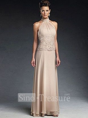 Light Champange Satin Chiffon Lace Halter Ruffle Column Floor Length Mother Of The Bride Dress Wedding Events Party Dresses