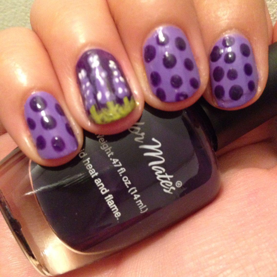 Delphinium nail art July day 13 | Stuff I\'ve Done | Pinterest ...