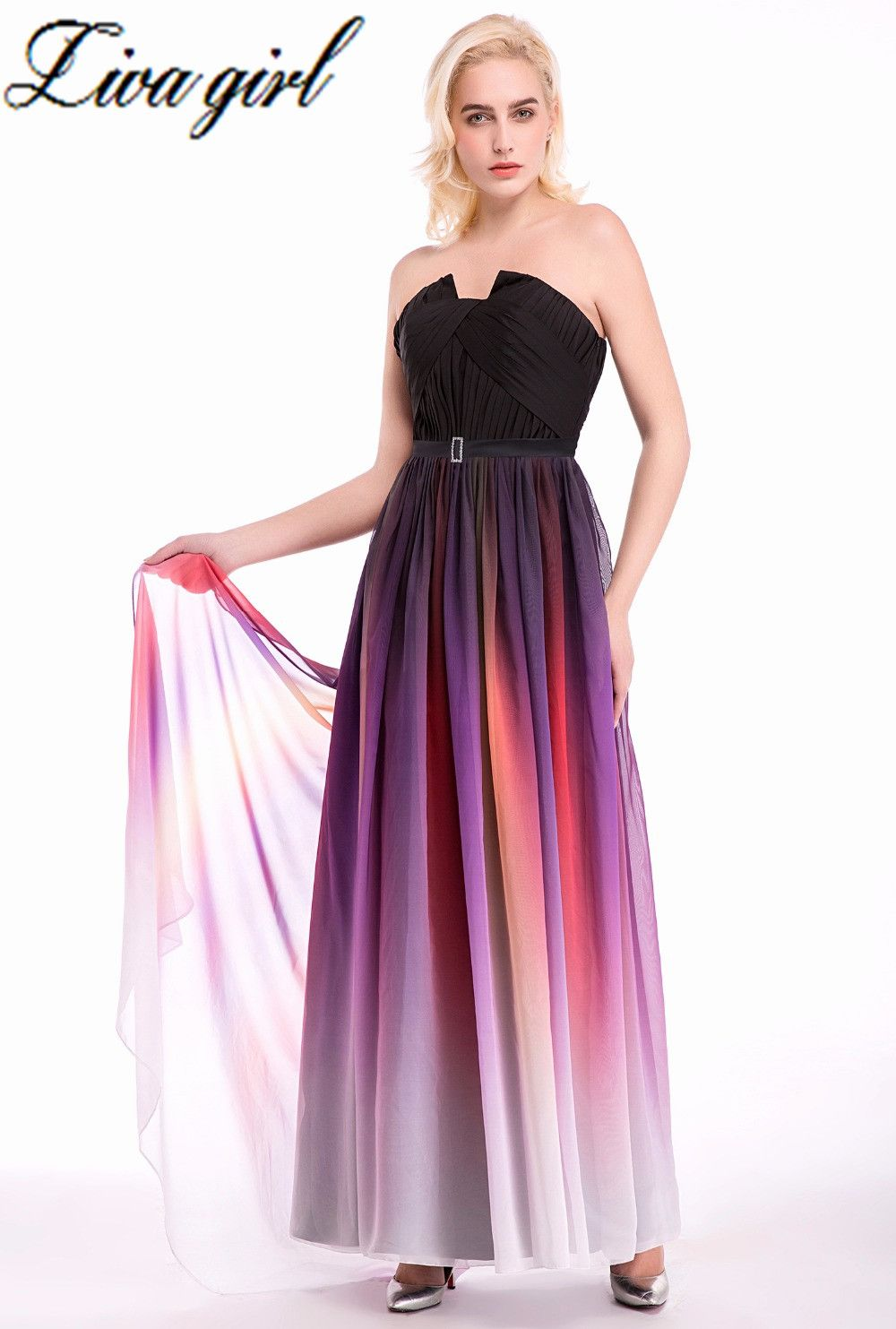Long evening dresses pretty strapless ruched bust purple behind open