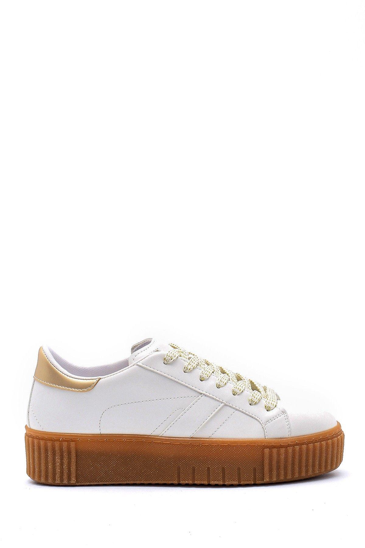 Beyaz Kadin Yuksek Tabanli Sneaker 20sfe193418 Derimod 2020 Sneaker Kadin Topuklular