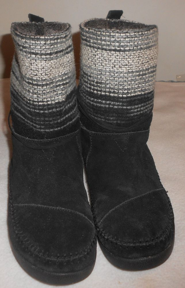 e19231cd4af TOMS Nepal Black Suede Striped Knit Boots Faux Fur Lined Womens Size 10W   fashion