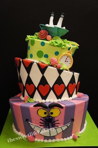 Cheshire Cat Topsy Turvy Cake Alice In Wonderland Themed Party