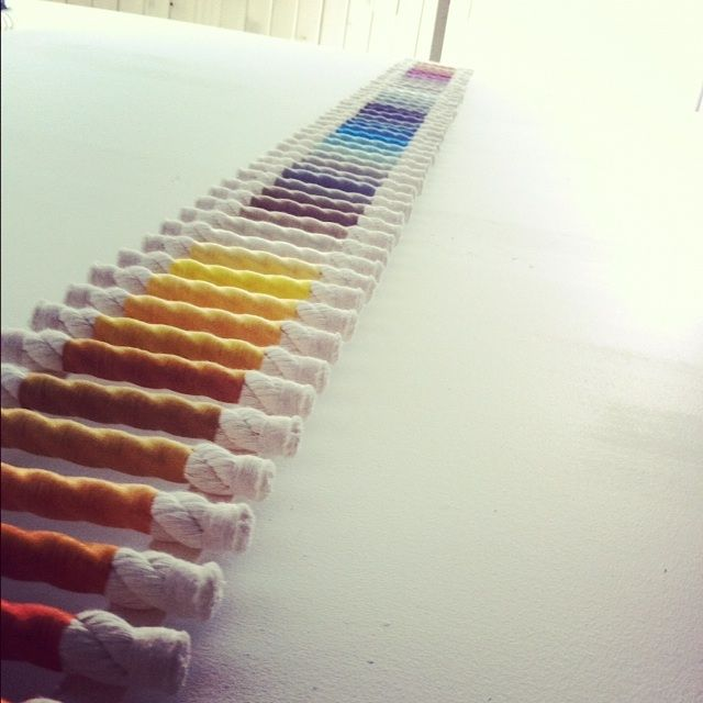 Scale ladder, a wall piece by Emily Bixler, multi-colored embroidery floss, reclaimed wood, cotton rope.