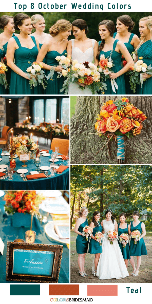 Top 8 October Wedding Colors To Steal Fall Wedding Color Palette Teal Wedding Colors October Wedding Colors