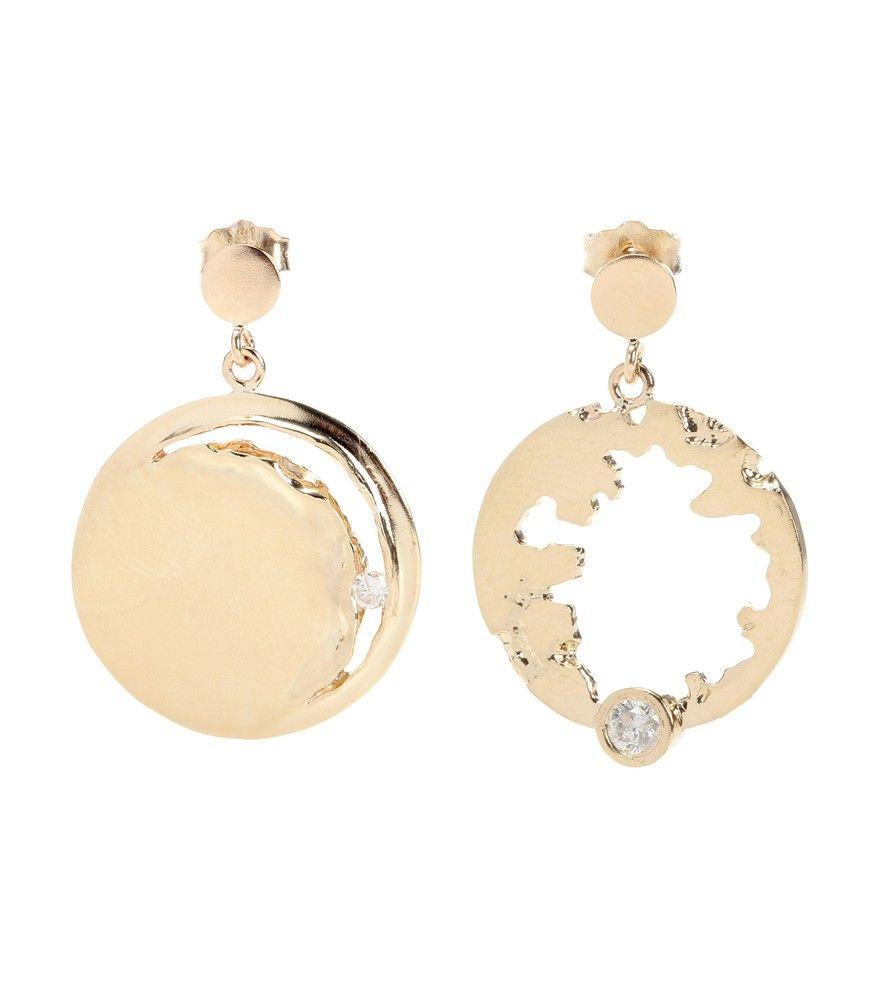Wasson 14kt gold and diamond moon earrings yBfqLfw