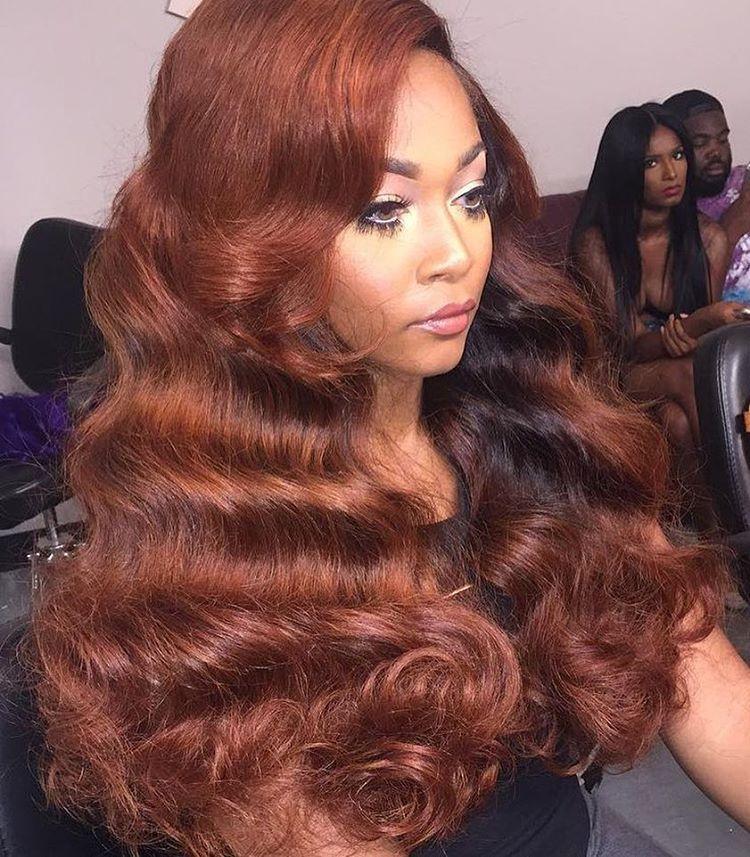 Red Brown Color Virgin Hair Weaving Extensions For This Look Look