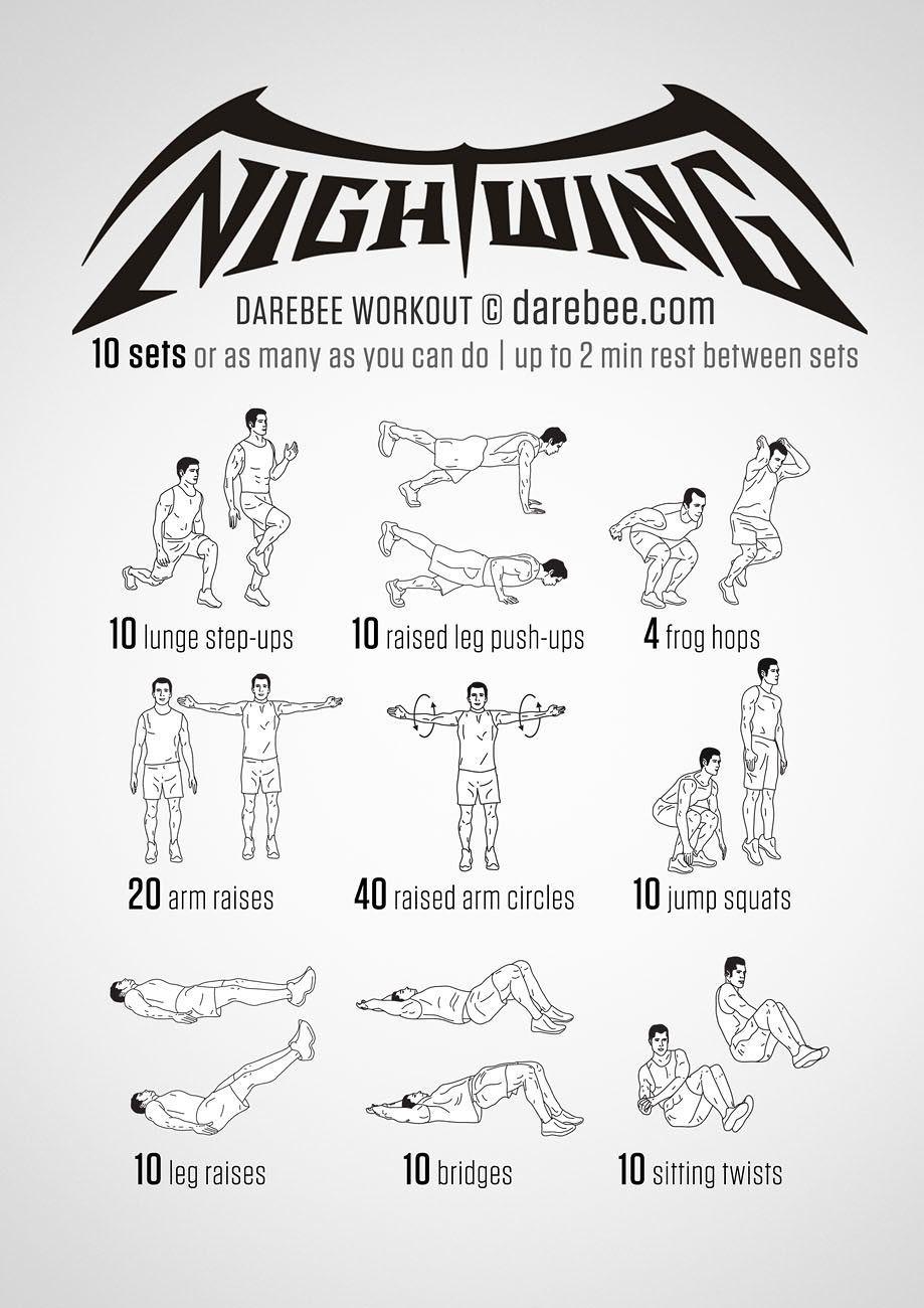 Nightwing Superheroes Workout | Workout Charts | Superhero ...
