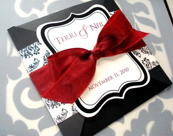 White And Red Wedding Invitations: Sangria-Red-Black-and-White-Damask-Square-Wedding