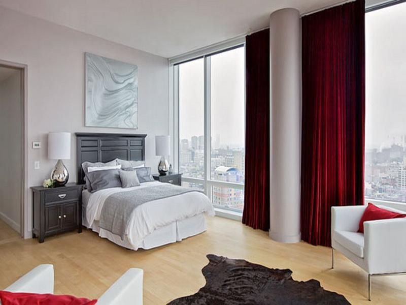 Great White Relaxing Bedroom Colors Red Curtains Design