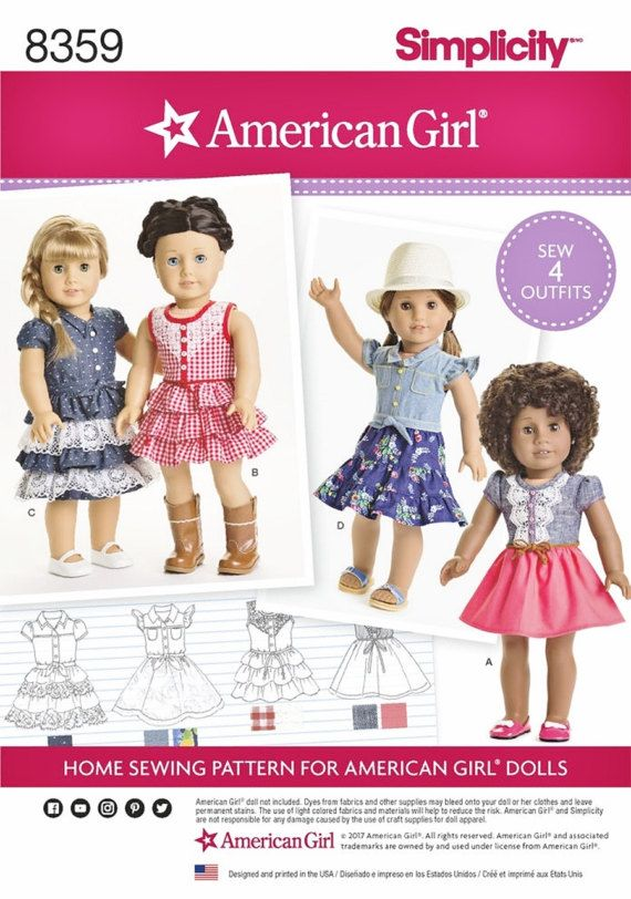 American Girl Doll Clothes Pattern, AG Doll Clothes Pattern, 18 inch ...