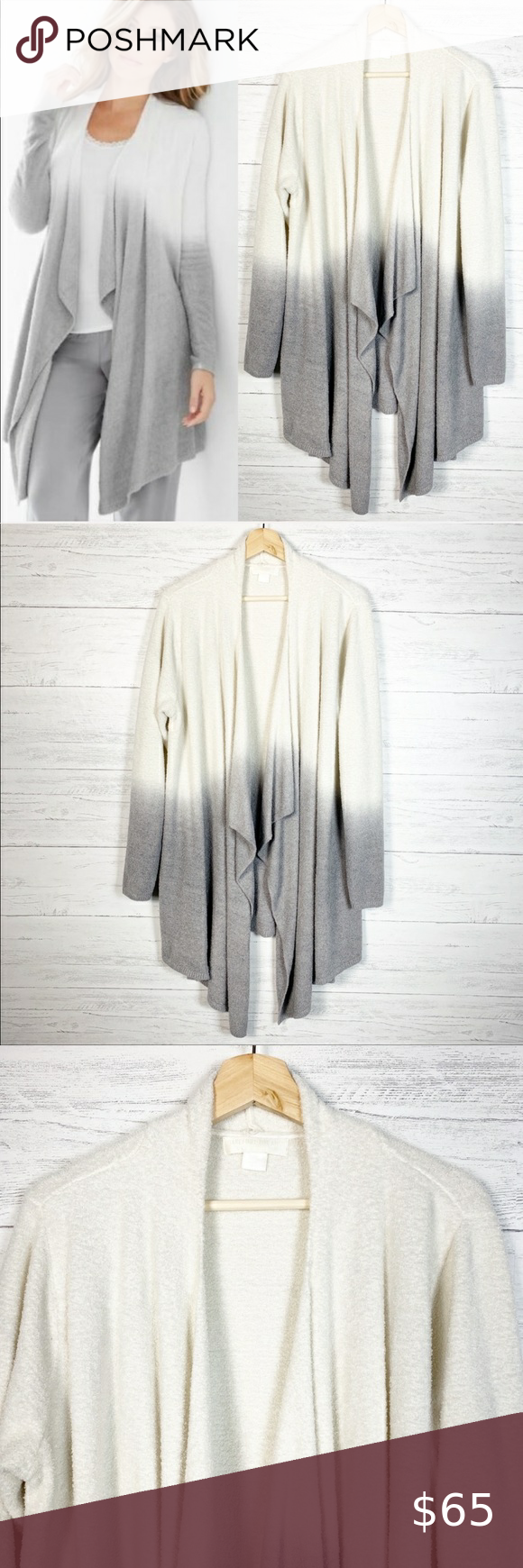 Barefoot Dreams • Cozychic Drape Front Cardigan 3X Barefoot Dreams Cream and Grey Cozychic Lite Drape Front Ombré Calypso Cardigan Sweater  Size 3X EXCELLENT Pre-Owned Condition  Worn Once and Washed Once Super Soft and Luxurious Stretch Open Front  Approximate Measurements: (Laying Flat) Bust is 53 in. (26.5 in. Flat) Waist is 53 in. Sleeve Length is 26.5 in. Shoulder to Hem is 34 in.  Thank you for shopping my closet! Barefoot Dreams Tops