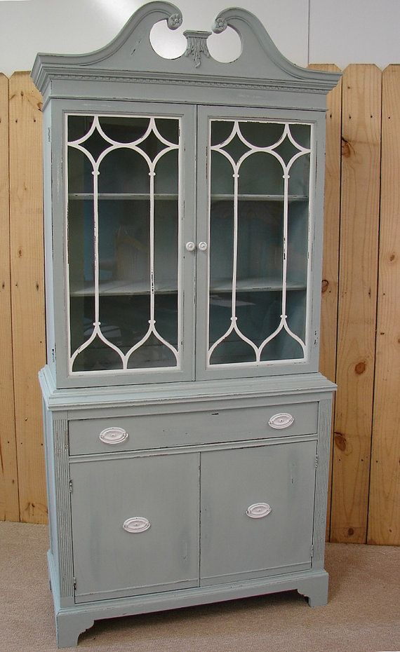 Vintage Reclaimed Gray Putty Painted China Cabinet Cupboard On