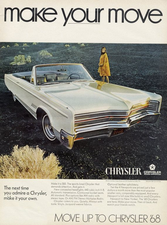 1968 Chrysler 300 Convertible Car Ad Vintage Auto By Advintagecom