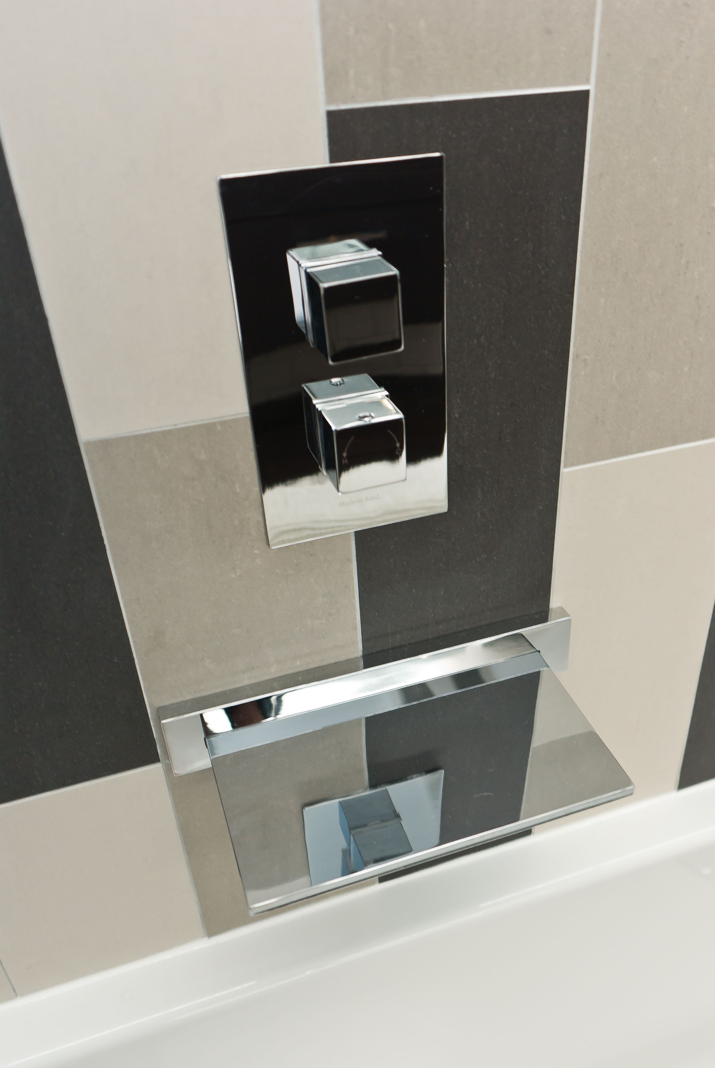 Wall mount tub filler bathroom contemporary with accent wall bathroom - Gray White Black Accent Tile Wall Square Tub Waterfall Tub Filler Black Accentsmodern Bathroomwaterfalltubbathrooms