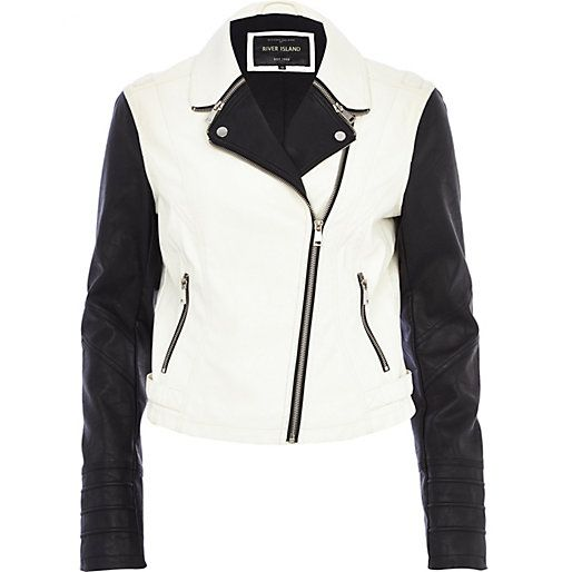 Black and white colour block biker jacket - biker jackets - coats ...