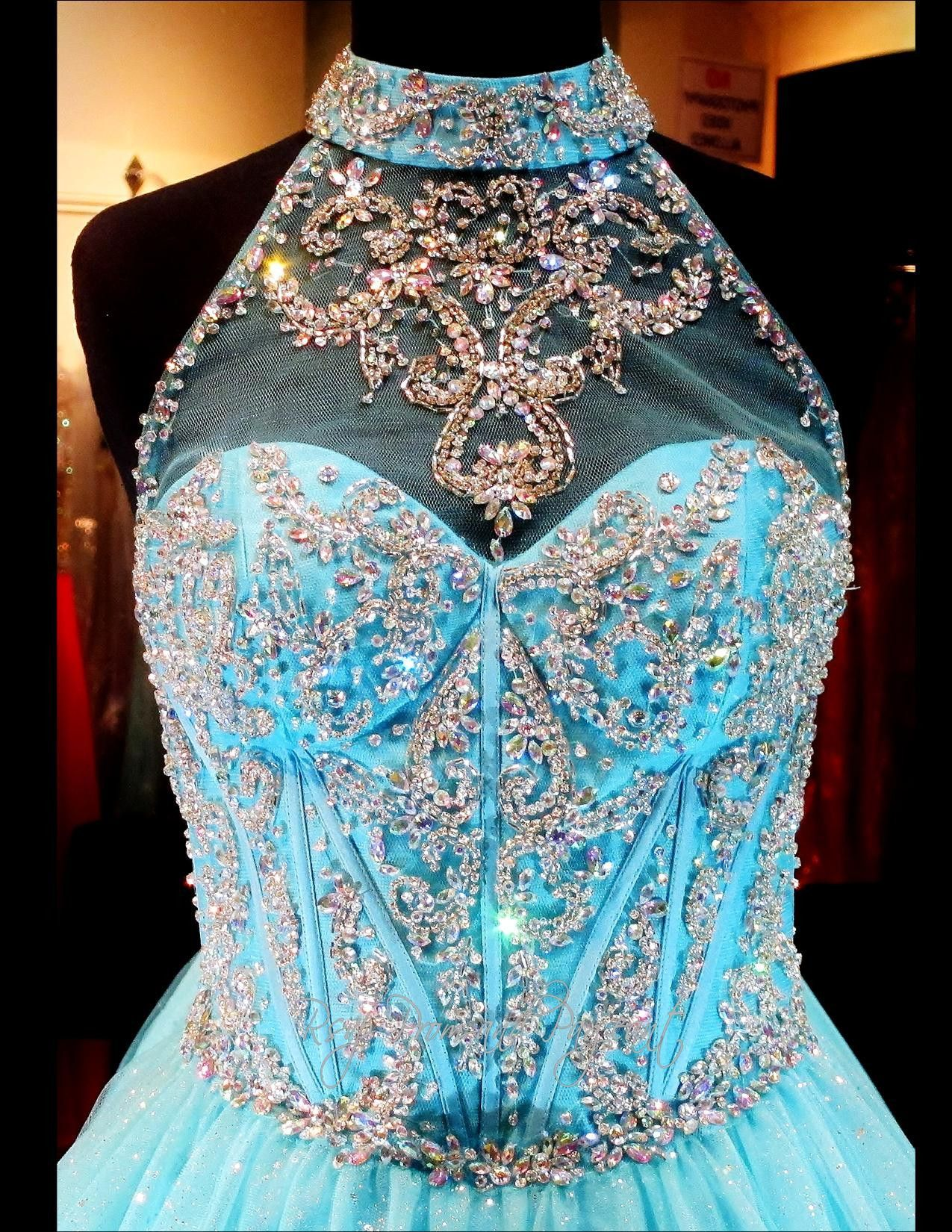 turquoise-ball-gown-beaded-high-illusion-neckline-sweetheart ...