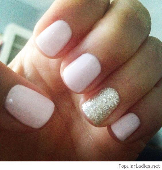 Cute pale pink nails with silver glitter detail | Pale pink nails ...