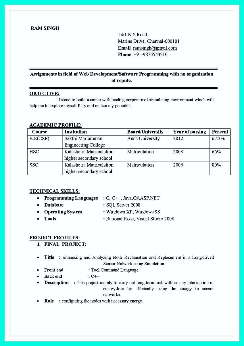 Resume Format Doc Download For Fresher