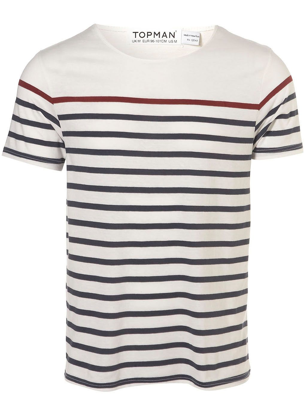 e66d605b23 Burgundy and Navy Breton Stripe T-SHIRT - Mens T-shirts & Tank Tops -  Clothing - TOPMAN USA