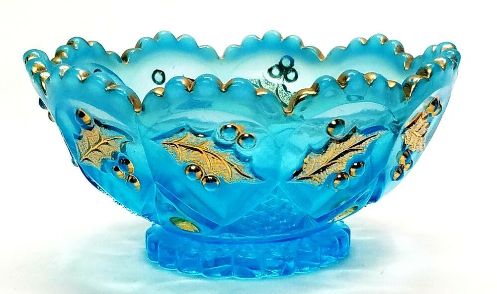 Opalescent Blue Glass Bowl or Dish