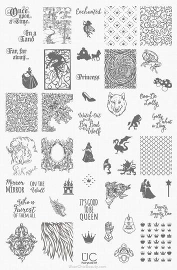 Fairytale 01 Uberchic Nail Stamping Plate Plain Nails Need