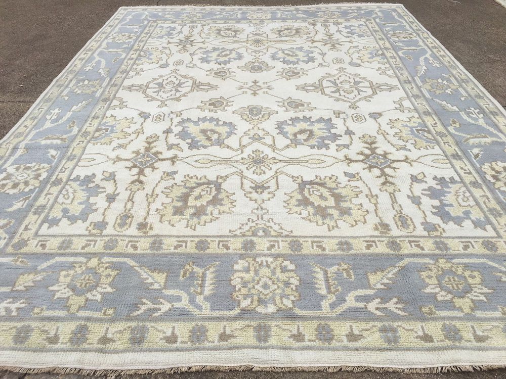9x12 Muted Persian Rug Ivory Blue Oushak Wool Hand Knotted Rugs Handmade Ushak Rugs Handmade Rugs Wool Area Rugs