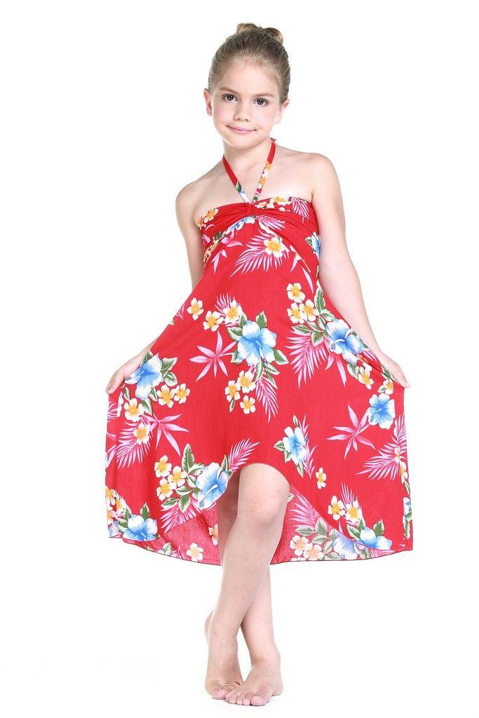 Girl Hawaiian Luau Butterfly Dress in Hibiscus Red