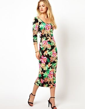 Vila 3/4 Sleeve Floral Maxi Column Dress... It's only $15, too! Anyone want to get my Christmas present early?? @Loveleen Kaler @Ariell Eneix