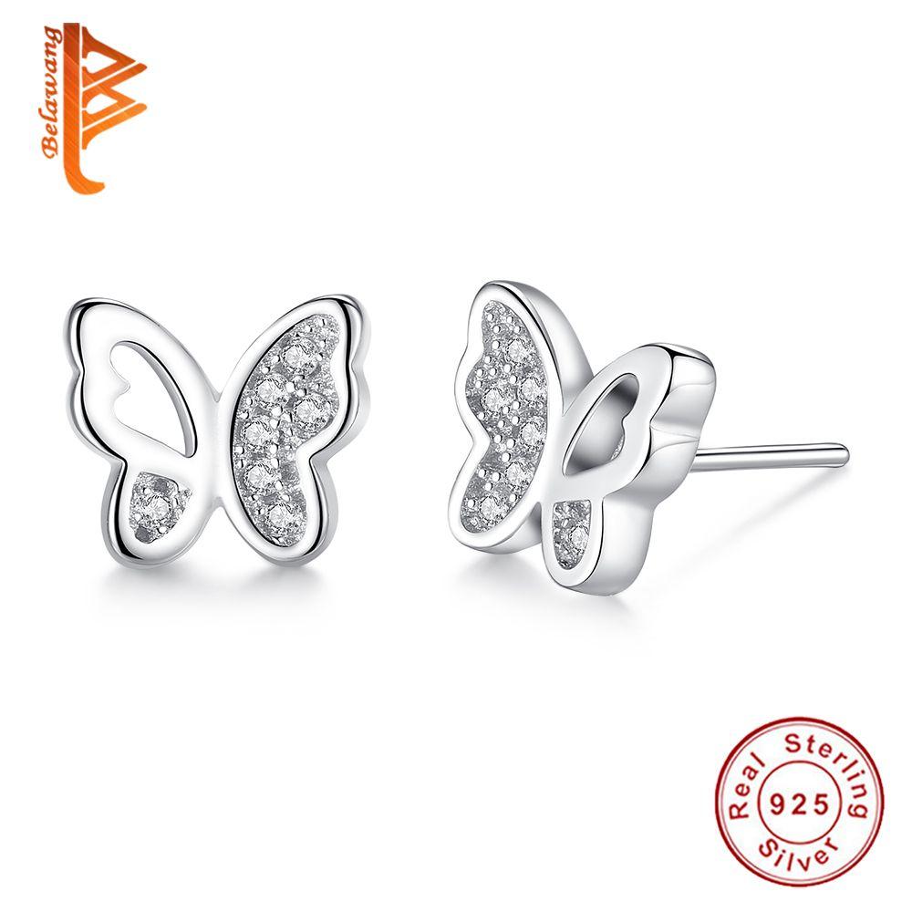 Real Pee Erfly Animal Stud Earrings Crystal Cz Female Earring For Women Fashion Wedding Jewelry