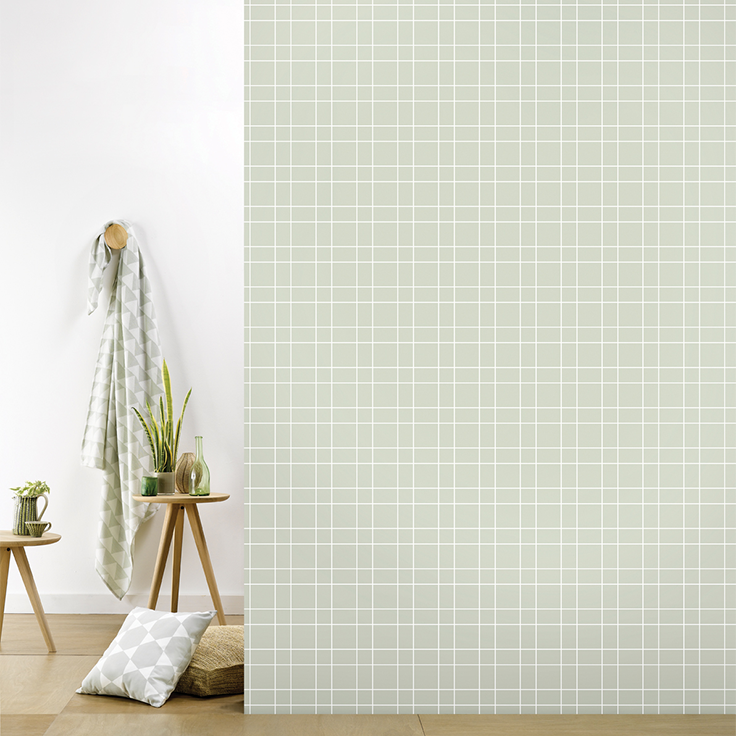 Roomblush behang wallpaper grid grey behangpapier woonkamer ...