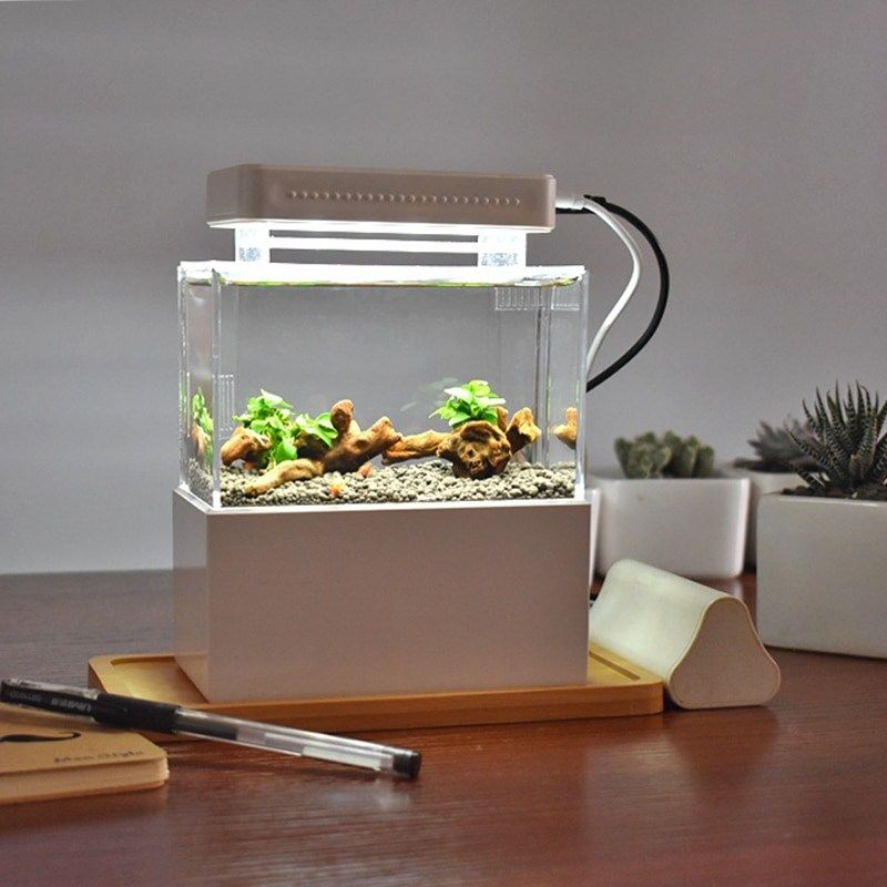 Mini Plastic Fish Tank Portable Desktop Aquaponic Aquarium Betta Fish Bowl With Water Filtration Led Quiet Air Pump For Decor Coupon Top Mini Aquarium Betta Fish Bowl Small Fish Tanks