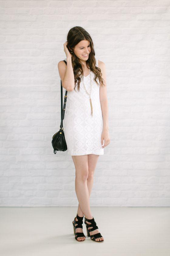 White Dress Black Heels