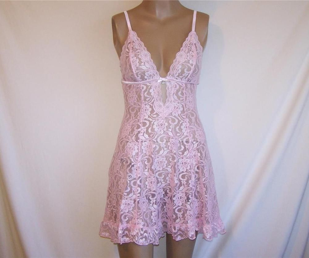ENCHANTED Nightgown Lingerie Pink Lace Stretch Sheer Sexy ...