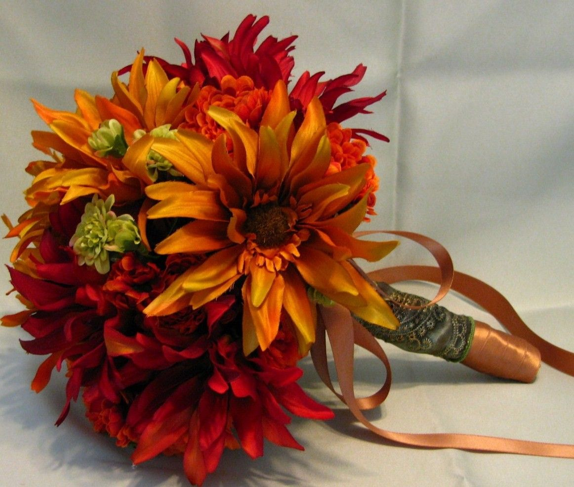 Fall silk wedding bouquet in rust and burnt yellow, bridal bouquet ...