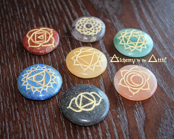 7 piece Reiki Engraved Chakra Healing by AlchemyInTheAttic on Etsy, $23.33
