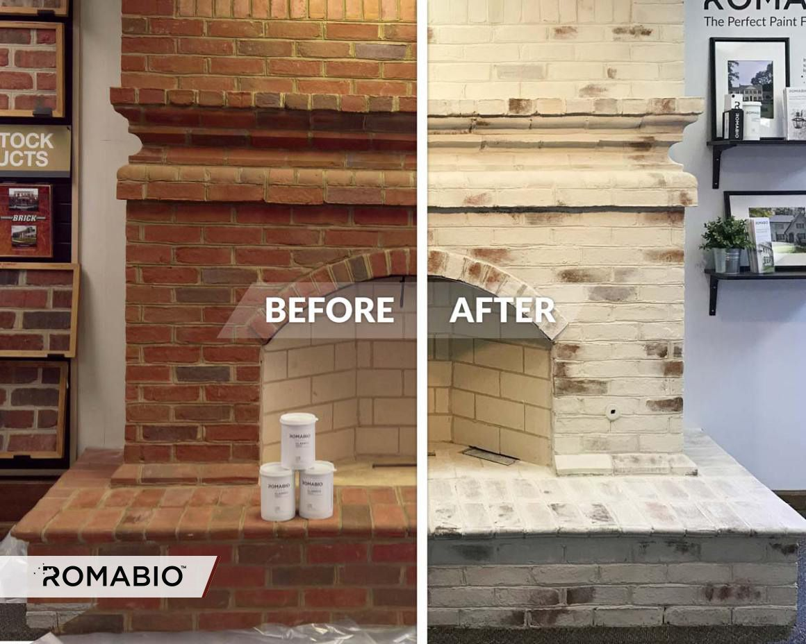 Fireplace makeover using romabio classico limewash paint product