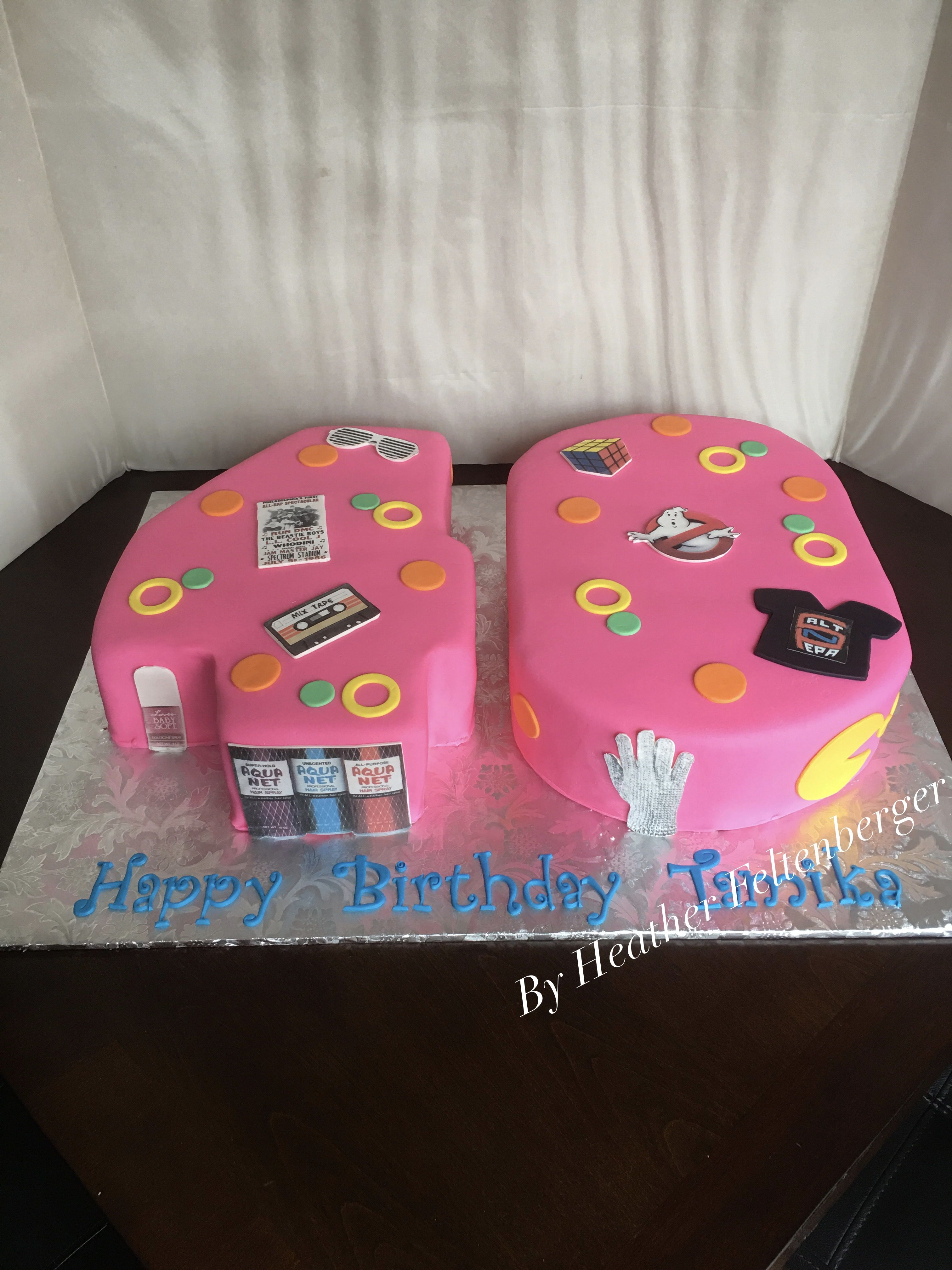 Retro, Nostalgia, 80S Number Shaped 40Th Birthday Sheet Cake