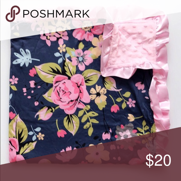 "657c44992 Navy and Pink printed Minky ruffle blanket Navy and floral printed minky ruffle  baby blanket. 31"" x 31"" Honeydew USA Other"
