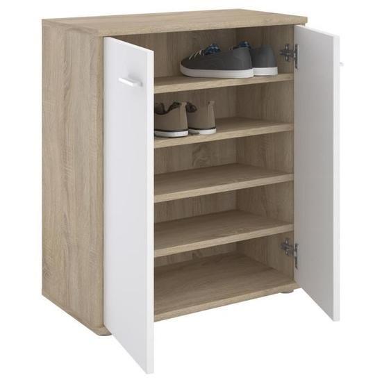 Meuble à chaussures OLYMPE, commode meuble de rangement avec 2 portes, en mélaminé décor chêne sonoma et blanc mat #meubleachaussuresentree