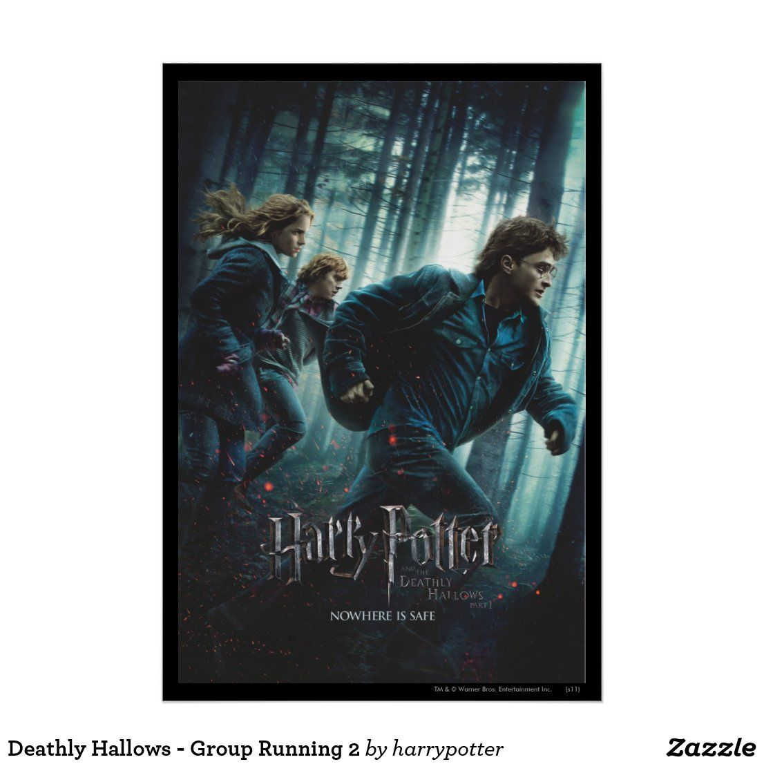 Deathly Hallows Group Running 2 Poster Zazzle Com Running Posters Harry Potter Movie Posters Personalized Wall Art