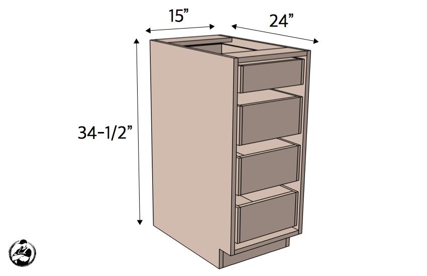 15in 4 Drawer Base Cabinet Carcass Frameless Cabinet Base