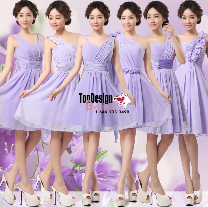 Lilac two colors 6 styles above the knee short prom dresses chiffon ...