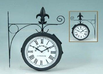 Amazon Com London Kensington Station Railroad 2 Faced Double Sided Solar Wall Clock Furniture Decor Wall Clock Kensington London Clock