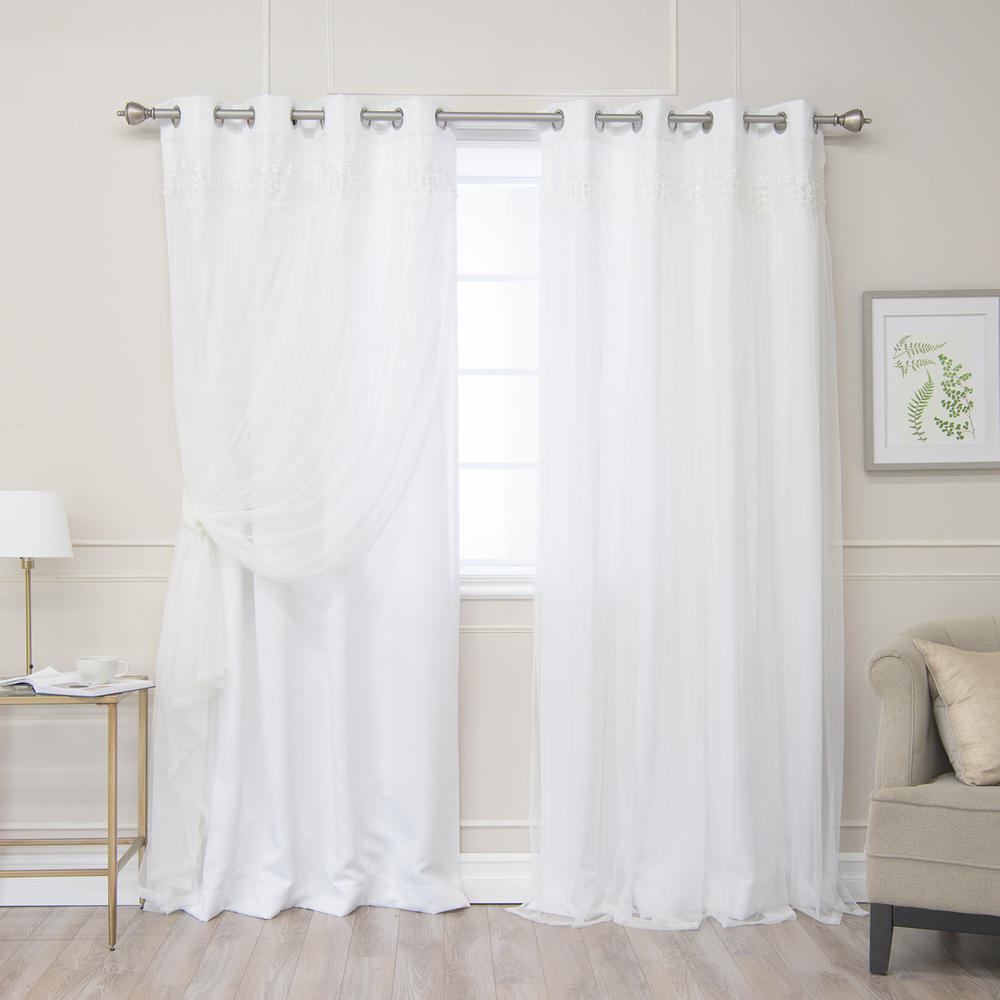 Best Home Fashion White 108 In L Elis Lace Overlay Room Darkening Curtain Panel 2 Pack Grom Bo Elis 108 White The Home Depot In 2020 Curtains Room Darkening Curtains Cool Curtains