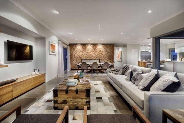 wohnzimmer hellgrau warme holztöne couchtisch sideboard interior - wohnzimmer sideboard design