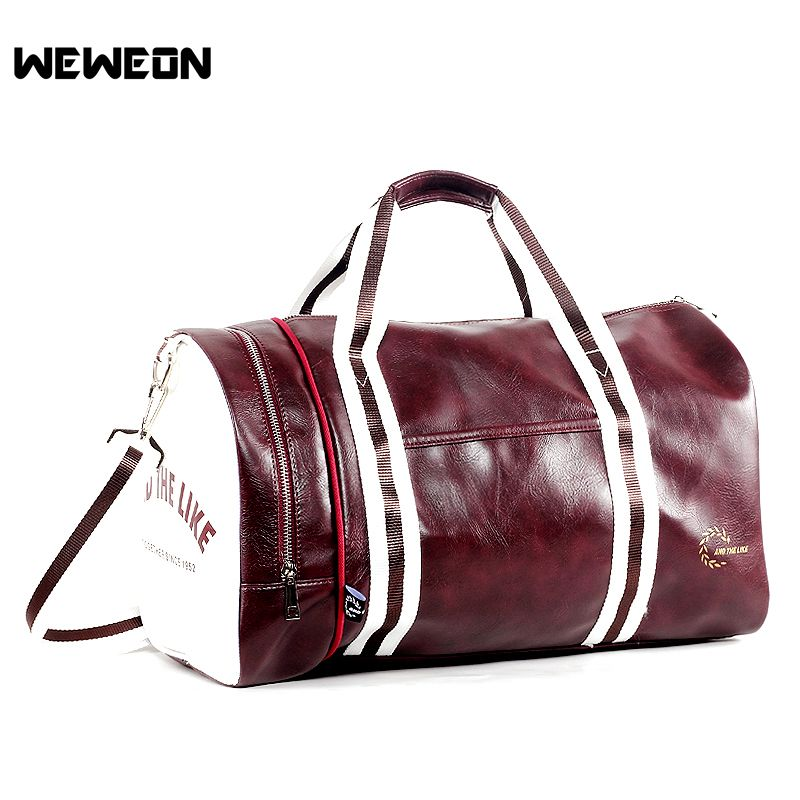 Stylish Sports Training Bag PU Leather Gym Tote for Men and Woman Fitness  Travel Shoulder Bags 390550d89b