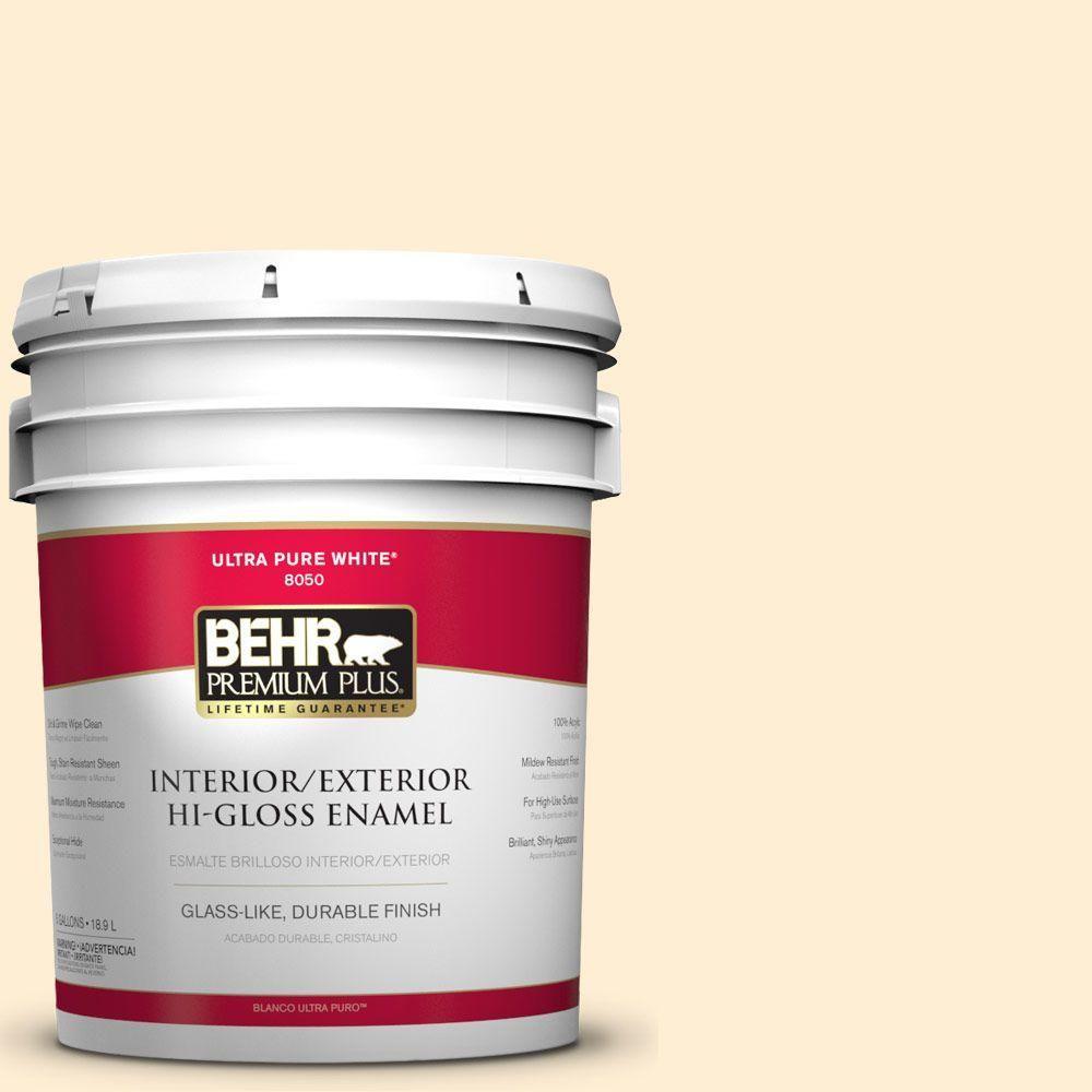BEHR Premium Plus 5-gal. #M270-1 Pearly White Hi-Gloss Enamel Interior/Exterior Paint