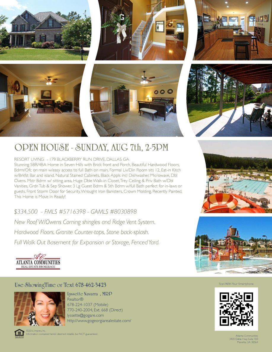 Open House_ 179 Blackberry Run Dr. Dallas GA, Seven Hills - Sunday August 7th, 2-5pm #LyssetteNavarra #Openhouse #Buyers