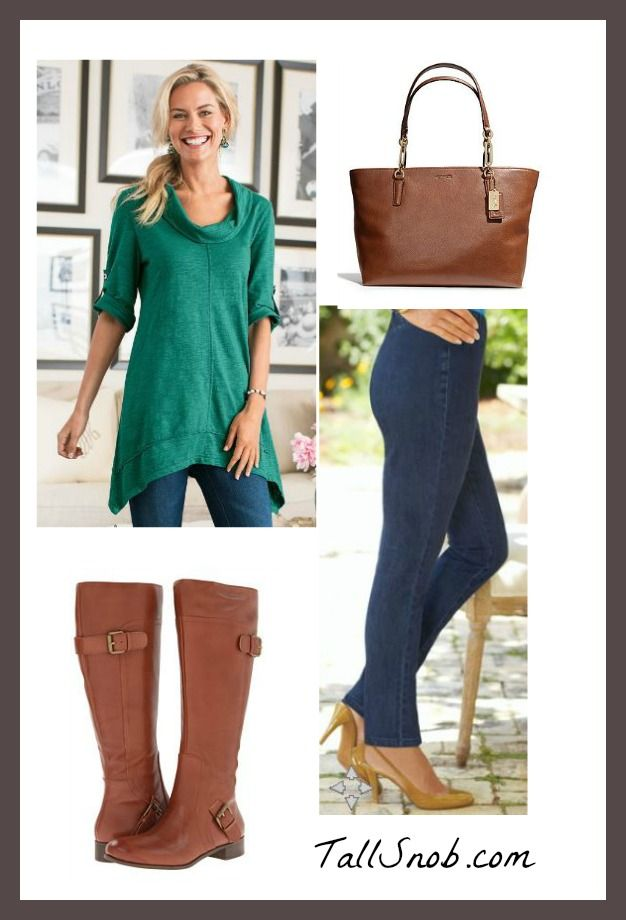 96277b1ab3d2 Outfits with Tunics and Leggings for Tall Women - Tall Snob. Love the  cognac boots.